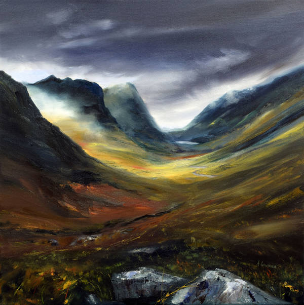 Light Through the Mist Glencoe - Oil - 40 x 40cm - 2019