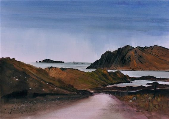 The Road to Oronsay - Watercolour and Conte - 2013 - 19 x 26 ins