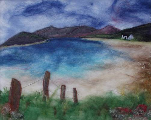 Across The Loch - I began with a flat base of white felt and used fine merino wool to create the scene.