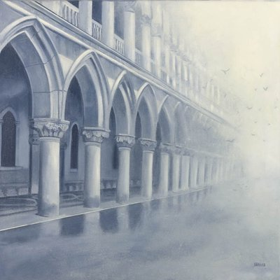 Fog in the Piazza - 6ins x 8ins - Oil on Board