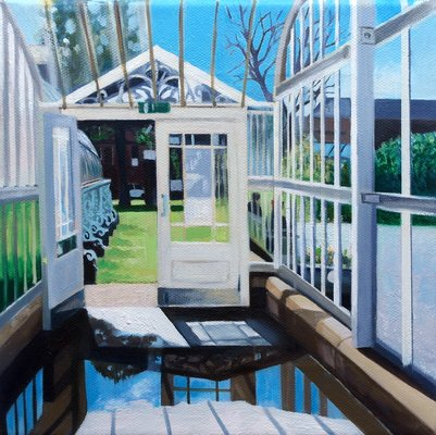 Kibble Palace Doorway - 8ins x 8ins - Oil on Canvas