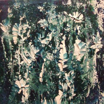 Frosted Leaves - 20cm x 20cm - Box Canvas Acrylics
