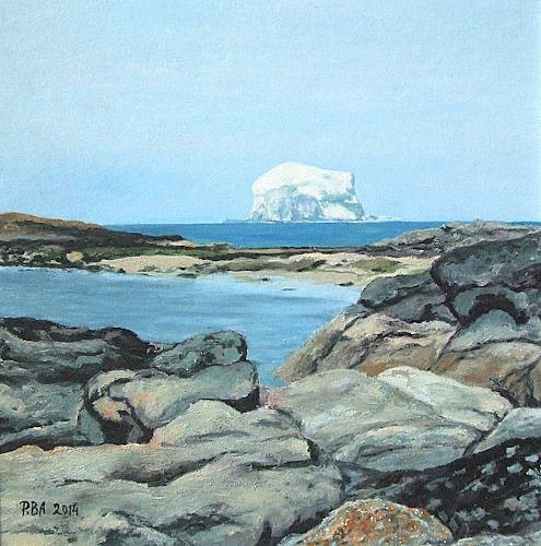Bass Rock seen from North Berwick, East Coast, Scotland - Oil on Board