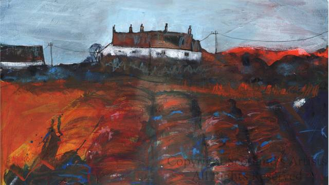 Red Roof Cottages, Moray - 2014 - Mixed Media on Paper - Mounted Size 27.5 X 9cm