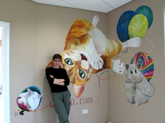 Mural at exclusive cattery, Aberdeen
