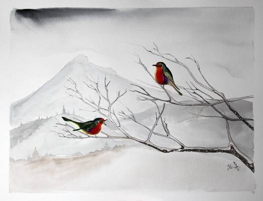 Robin bird in fron of Benachie, watercolour and ink