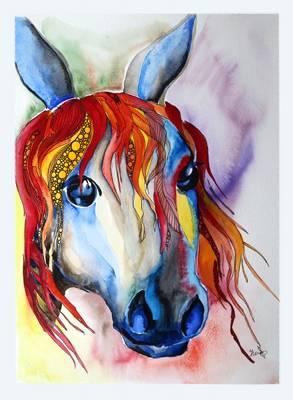 Horse, watercolour and ink